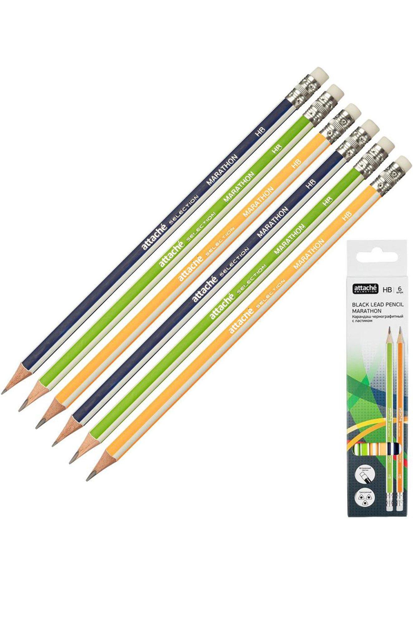Attache Selection, Набор карандашей чернографитных с ластиком 6 шт. Attache Selection KMS1055945 (430421265)