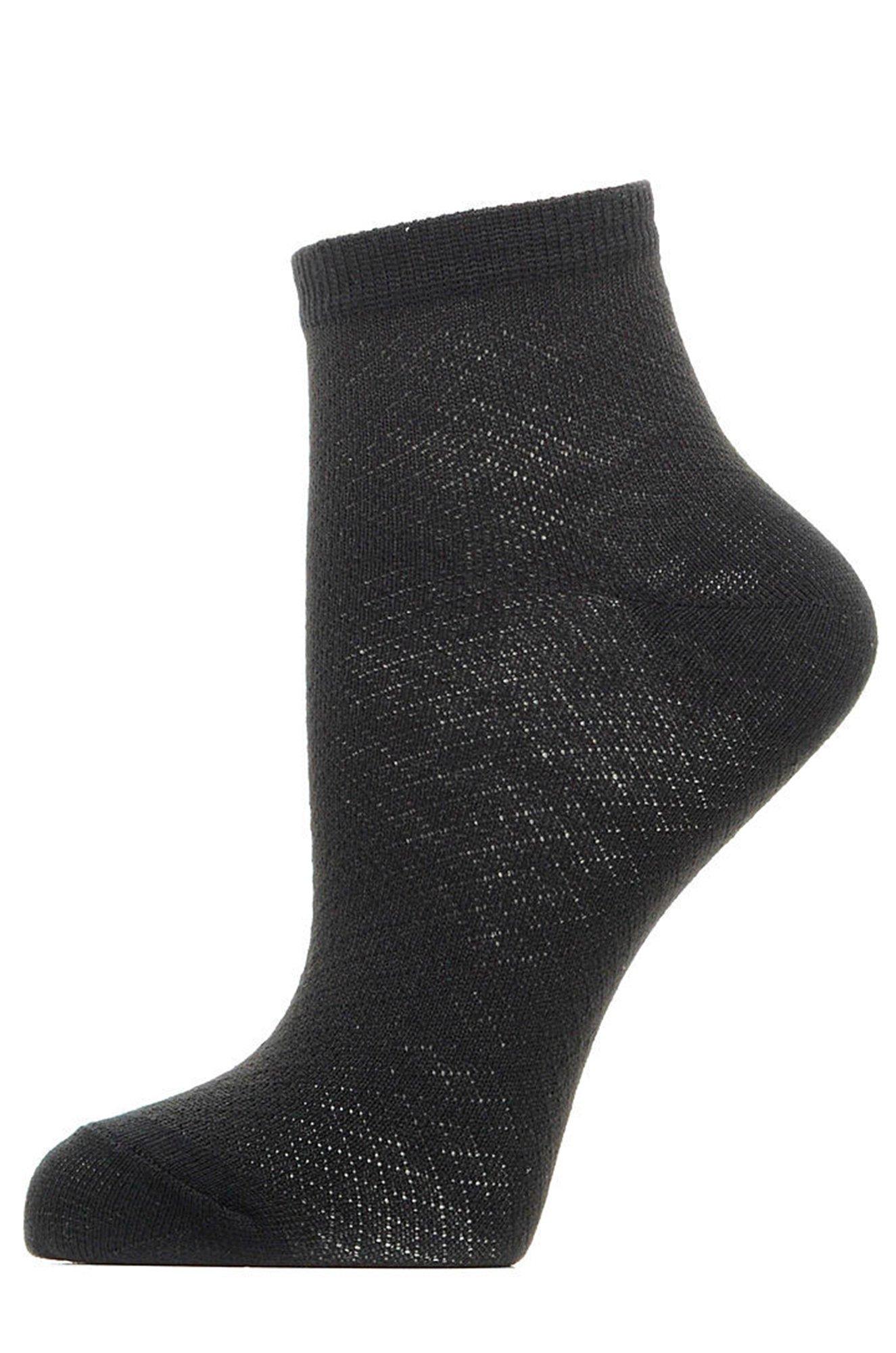 Золотая игла, Черные укороченные женские носочки красивой текстурной вязки ZIC400 (6615434)