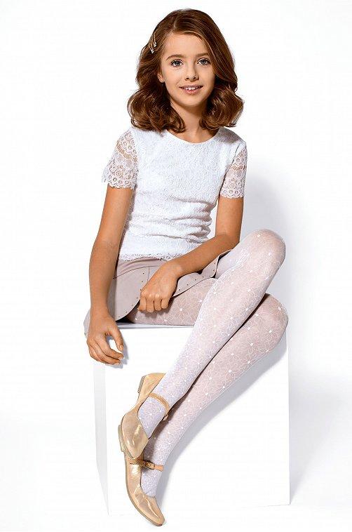 Колготки детские нарядные JASMINE 20 Conte elegant 6615134 белый купить оптом в HappyWear.ru
