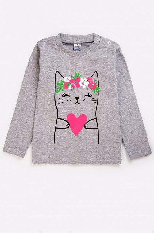 Джемпер для девочки Bonito 6631254 серый купить оптом в HappyWear.ru