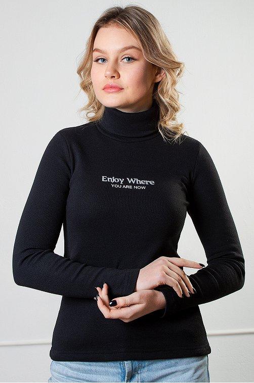 Водолазка женская утепленная Brosko 6624969 черный купить оптом в HappyWear.ru