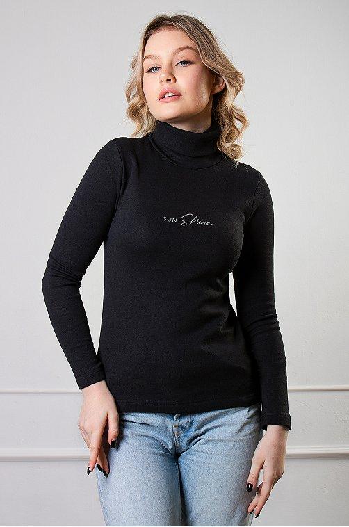 Водолазка женская утепленная Brosko 6624970 черный купить оптом в HappyWear.ru