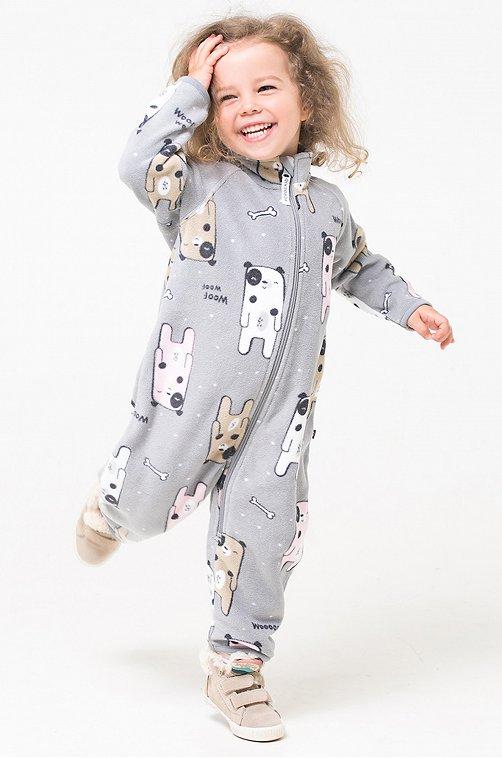 Флисовый комбинезон для девочки Crockid 6612287 серый купить оптом в HappyWear.ru