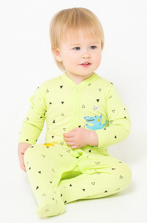 Комбинезон детский Crockid 6605664 зеленый купить оптом в HappyWear.ru