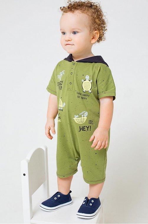 Полукомбинезон для мальчика Crockid 6630063 зеленый купить оптом в HappyWear.ru