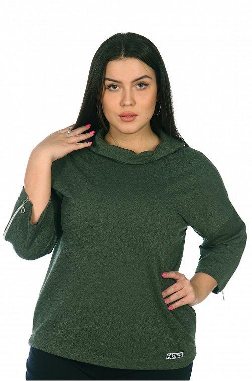 Свитшот женский OdevaiS 6612458 зеленый купить оптом в HappyWear.ru