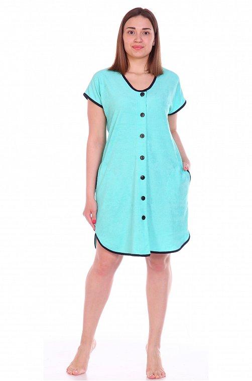 Халат женский махровый OdevaiS 6625061 голубой купить оптом в HappyWear.ru