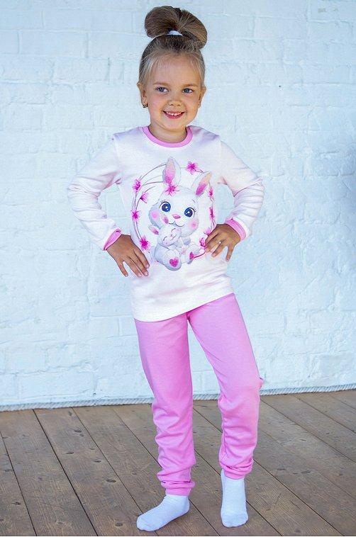 Пижама для девочки ДЕТСКИЙ ТРИКОТАЖ 37 6631426 розовый купить оптом в HappyWear.ru
