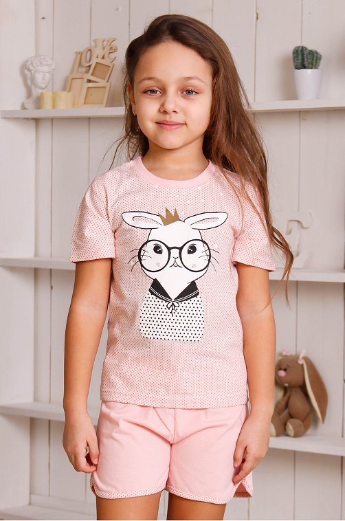 Пижама для девочки ДЕТСКИЙ ТРИКОТАЖ 37 6631413 розовый купить оптом в HappyWear.ru
