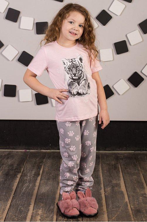 Пижама для девочки ДЕТСКИЙ ТРИКОТАЖ 37 6631417 розовый купить оптом в HappyWear.ru