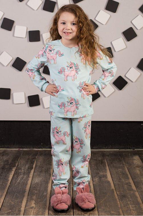 Пижама для девочки ДЕТСКИЙ ТРИКОТАЖ 37 6631424 зеленый купить оптом в HappyWear.ru