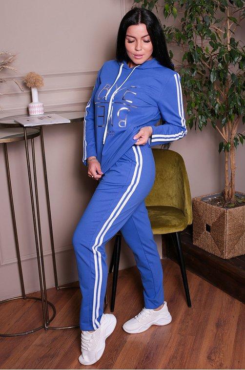 Женский спортивный костюм с металлизированным принтом 6644125 голубой купить оптом в HappyWear.ru
