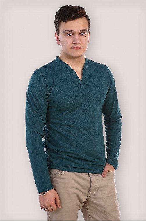 Футболка мужская с длинным рукавом Грация 6526945 зеленый купить оптом в HappyWear.ru
