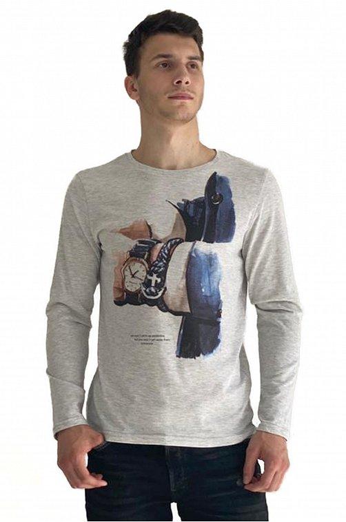 Лонгслив мужской Грация 6608345 серый купить оптом в HappyWear.ru