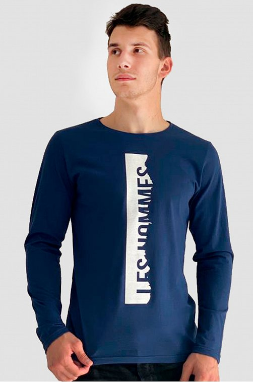 Лонгслив мужской Грация 6610393 синий купить оптом в HappyWear.ru