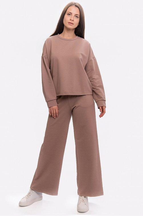 Женский костюм из футера с брюками-палаццо 6652258 коричневый купить оптом в HappyWear.ru