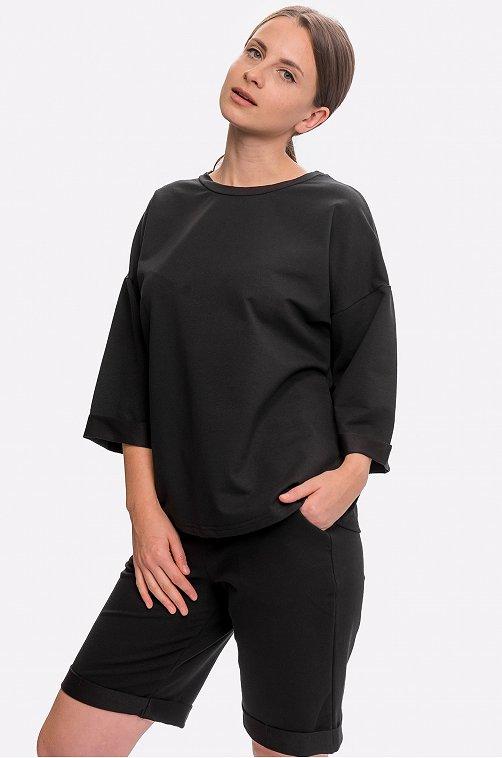 Женский трикотажный костюм с шортами 6658139 черный купить оптом в HappyWear.ru