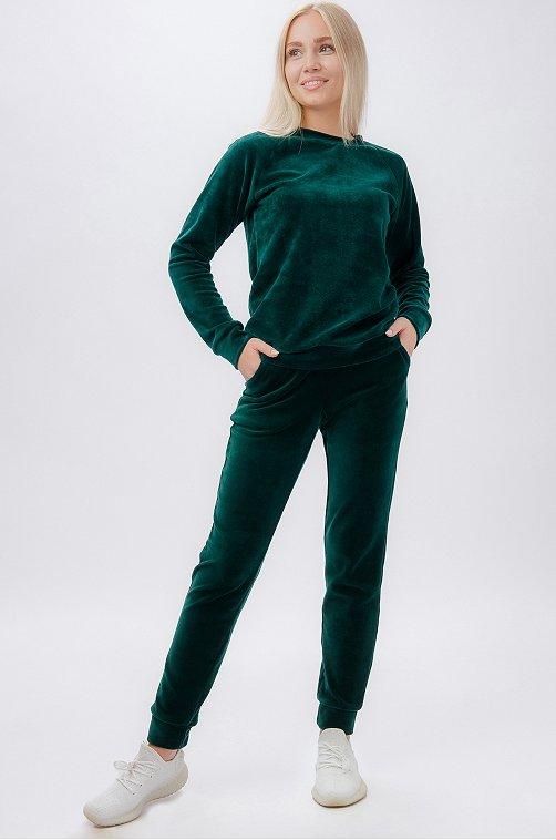 Велюровый женский костюм 6658781 зеленый купить оптом в HappyWear.ru