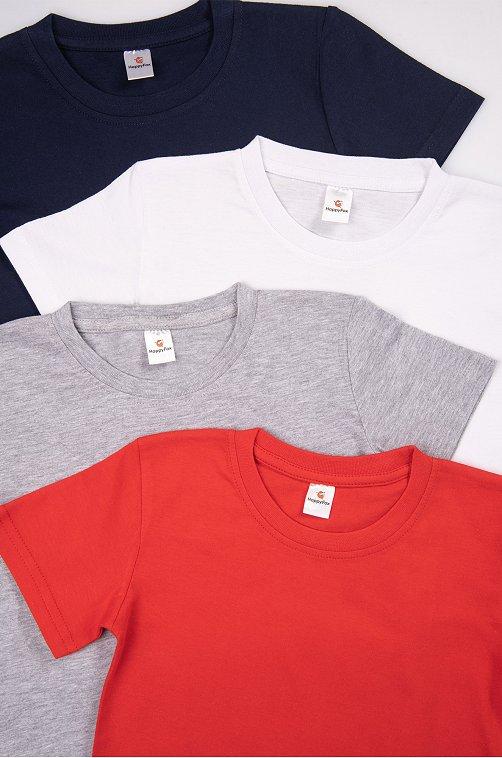 4 хлопковых детских футболки Happy Fox бел.красн.серыймеланж.т.синий