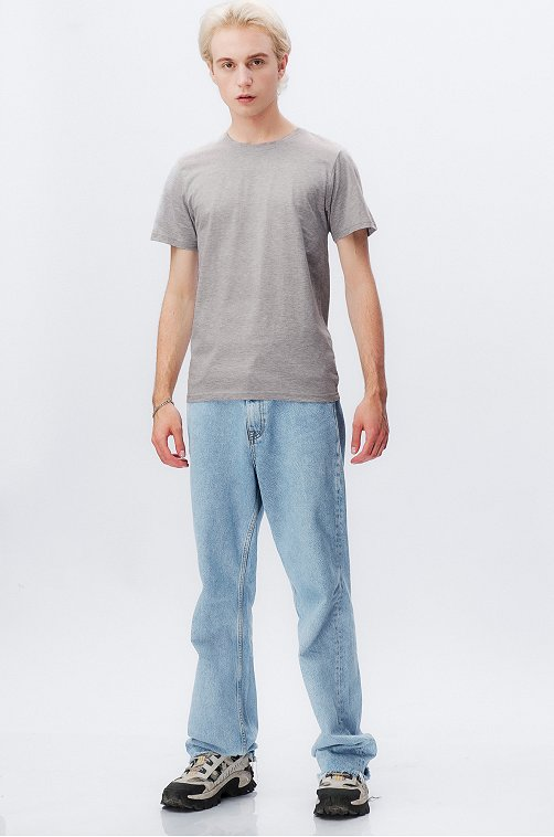 Хлопковая мужская футболка Happy Fox св.серыймеланж