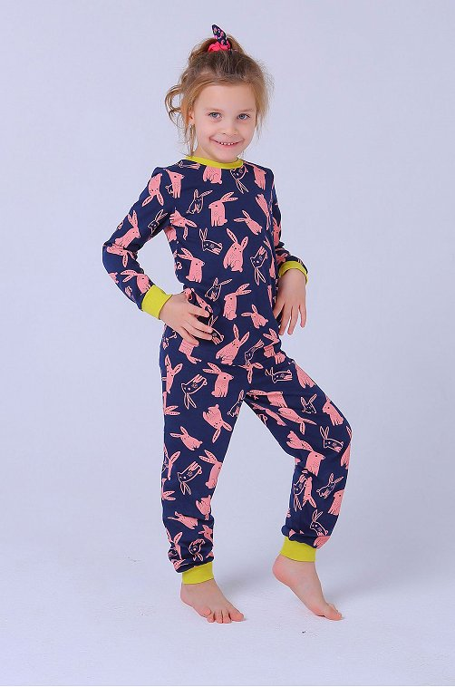 Пижама для девочки KOTTONI 6631449 синий купить оптом в HappyWear.ru