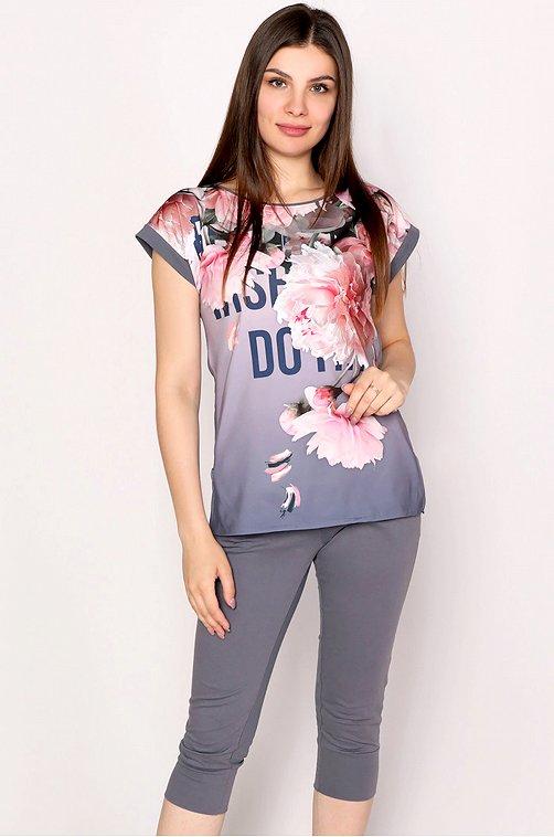 Женский костюм с цветочным принтом 6645433 серый купить оптом в HappyWear.ru