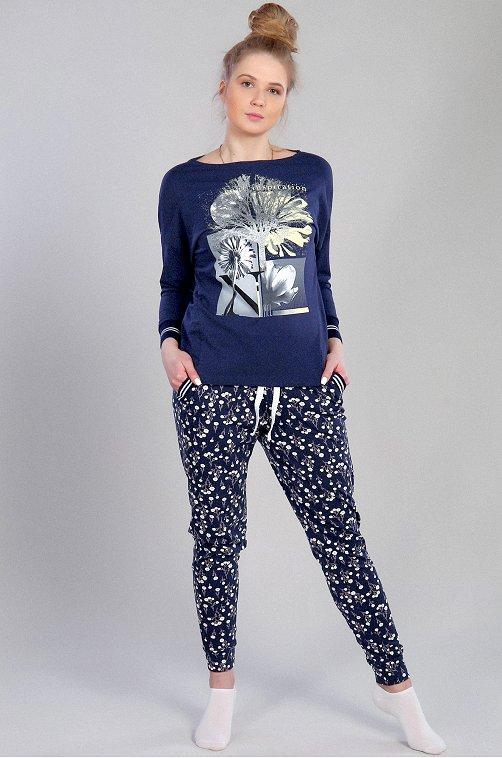 Домашний женский костюм 6654093 синий купить оптом в HappyWear.ru