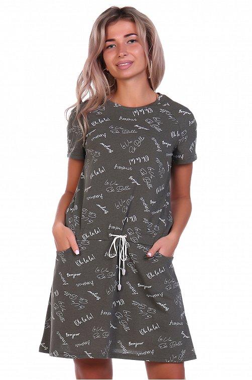 Платье женское NSD стиль 6632125 зеленый купить оптом в HappyWear.ru