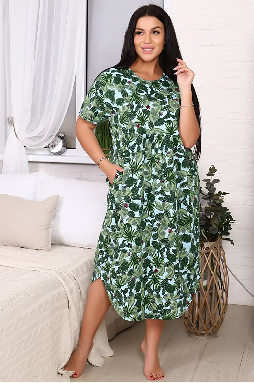 Легкое летнее женское nплатье свободного кроя 6633789 зеленый купить оптом в HappyWear.ru