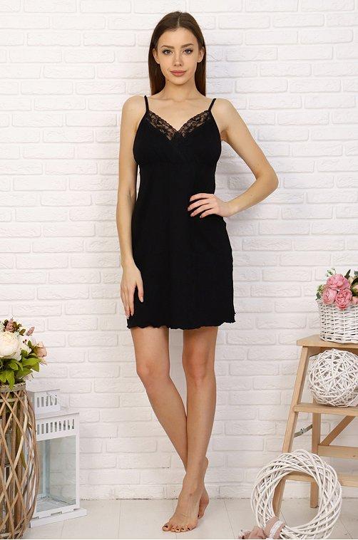 Сорочка женская из вискозы Натали 6621446 черный купить оптом в HappyWear.ru