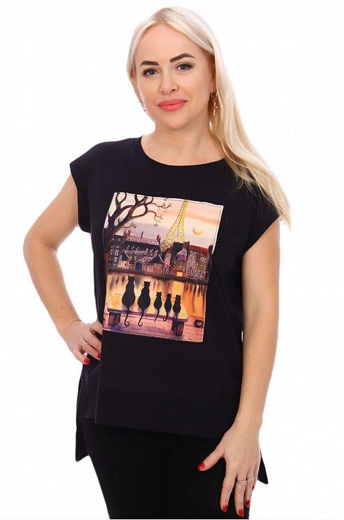 Прикольная женская футболка с кошками и французскими мотивами 6598431 черный купить оптом в HappyWear.ru