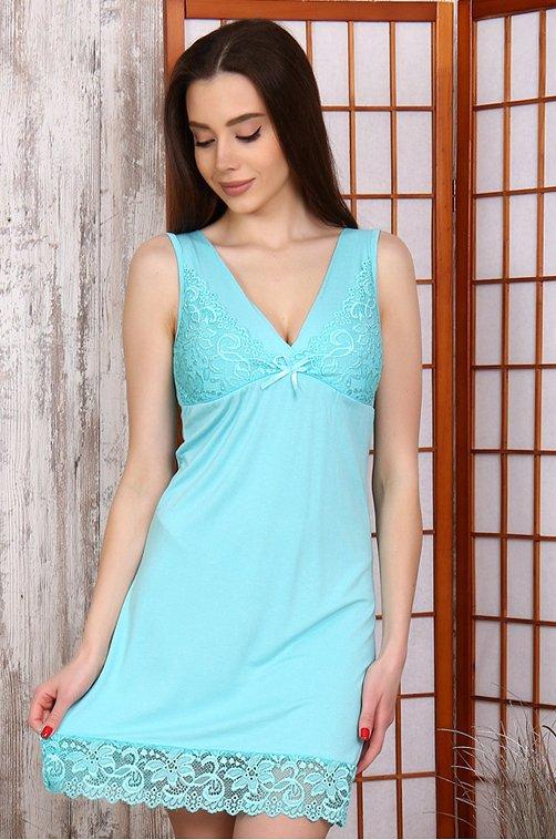 Сорочка женская из вискозы Натали 6627809 голубой купить оптом в HappyWear.ru