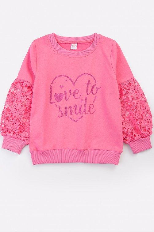 Свитшот для девочки Bonito 6625694 розовый купить оптом в HappyWear.ru