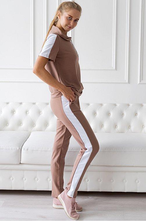 Женский костюм в спортивном стиле 6653319 бежевый купить оптом в HappyWear.ru