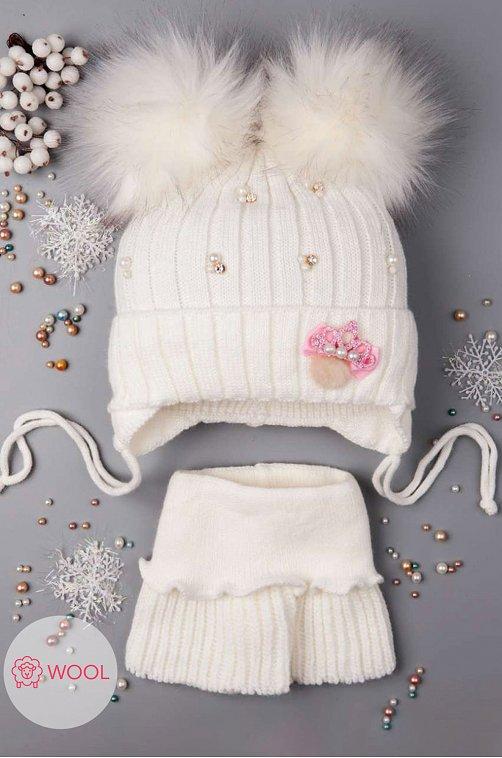 Комплект шапка со снудом для девочки Русбубон 6613623 белый купить оптом в HappyWear.ru