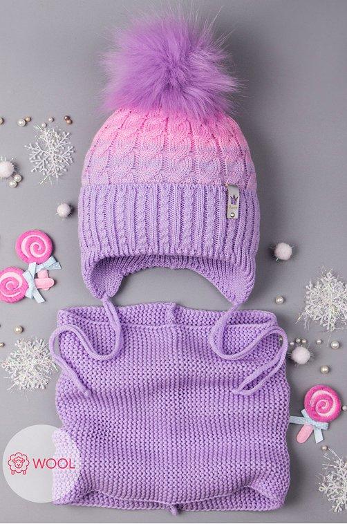 Комплект шапка со снудом для девочки Русбубон 6613660 фиолетовый купить оптом в HappyWear.ru