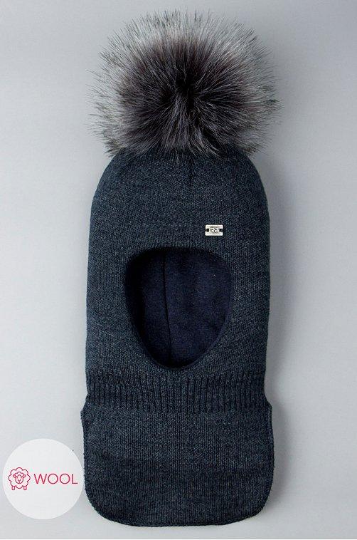Шапочка-шлем вязаная для мальчика Русбубон 6613672 синий купить оптом в HappyWear.ru