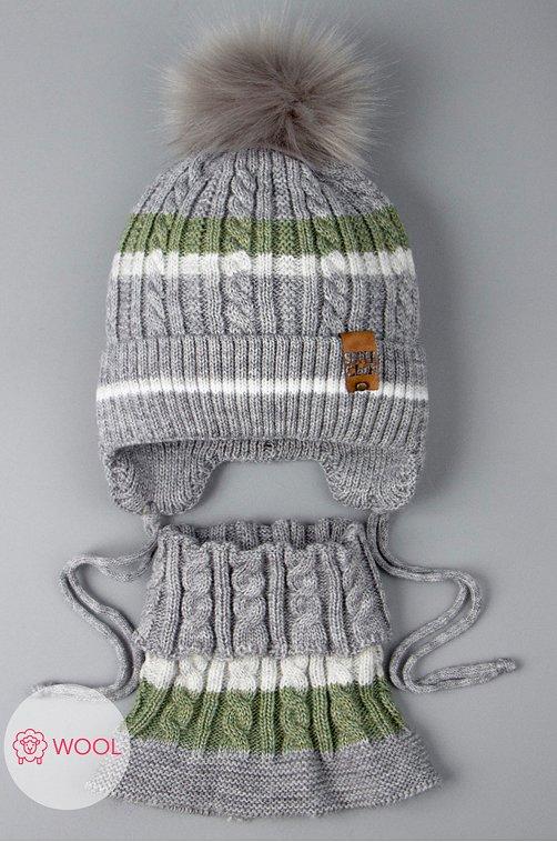 Комплект шапка со снудом для мальчика Русбубон 6613687 серый купить оптом в HappyWear.ru