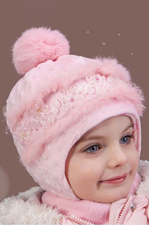 Шапочка для девочки TuTu 6609694 розовый купить оптом в HappyWear.ru