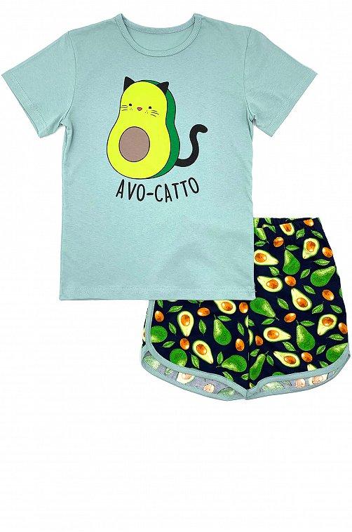 Пижама для девочки VGtrikotazh 6632089 синий купить оптом в HappyWear.ru