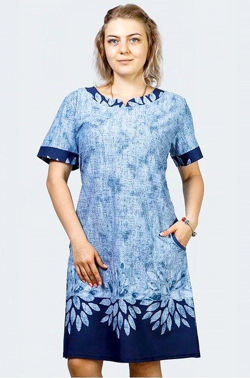 Женская туника с цветочным принтом 6643181 синий купить оптом в HappyWear.ru