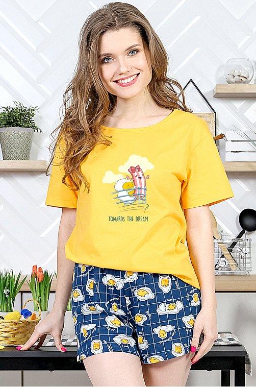 Женский костюм с шортами 6639725 мультиколор купить оптом в HappyWear.ru